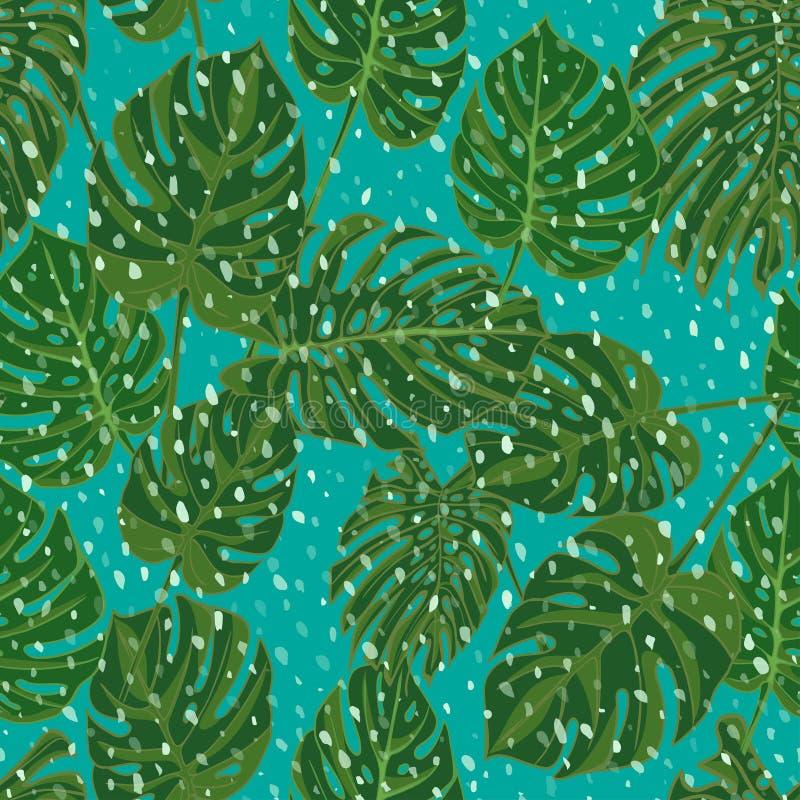 Nahtlose Hand gezeichnetes tropisches Muster mit Palmblättern, exotisches Blatt des Dschungels auf dunklem Hintergrund lizenzfreie abbildung