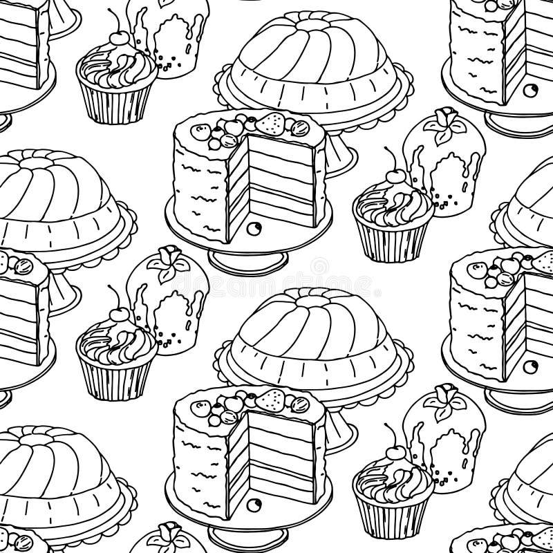 Nahtlose Hand gezeichnetes Vektormuster Kuchen und kleine Kuchen auf einem weißen Hintergrund vektor abbildung
