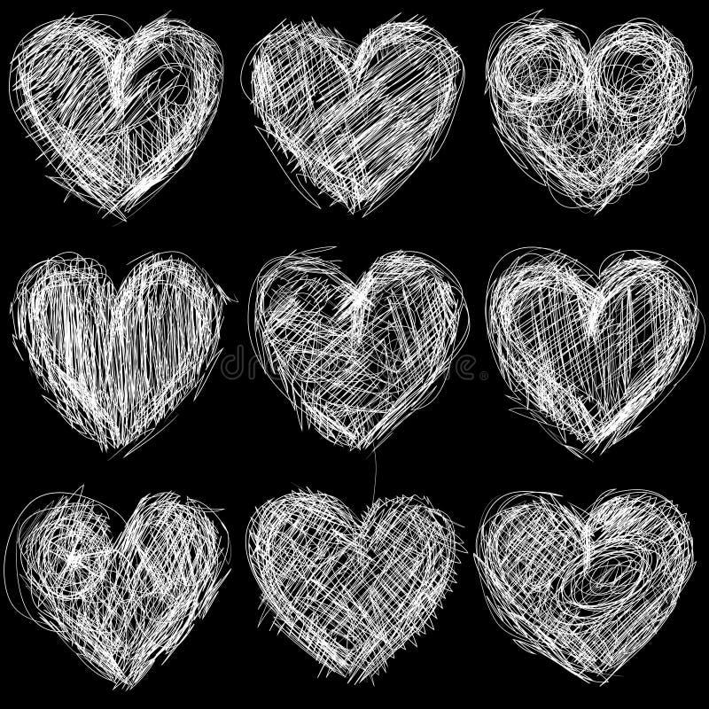 Nahtlose Herztafel, Liebeshintergrund und Beschaffenheit. stock abbildung