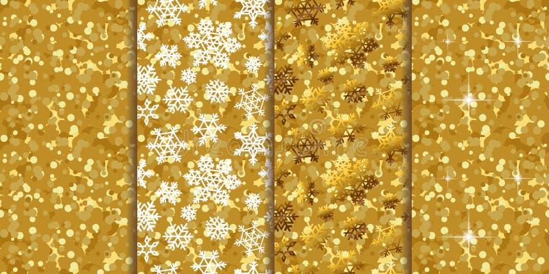 Nahtlose Hintergründe vier des goldenen Musters in einem Satz stock abbildung
