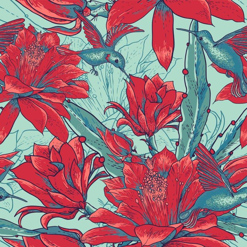 Nahtlose Hintergrundblumen und -kolibris stock abbildung