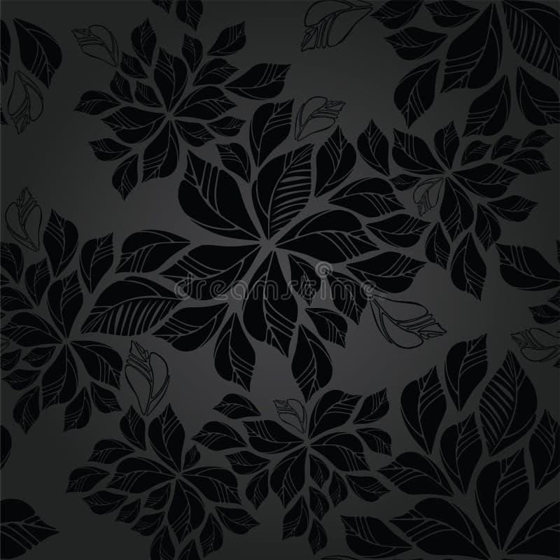 Nahtlose Holzkohle verlässt Tapetenmuster lizenzfreie abbildung