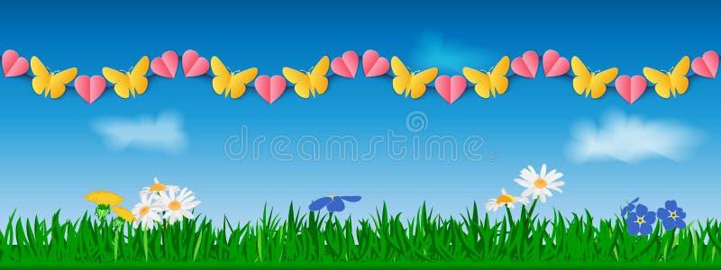 Nahtlose horizontale Girlande von gelben Papierschmetterlingen und von rosa Herzen vor dem hintergrund des Grases, der Blumen und stock abbildung