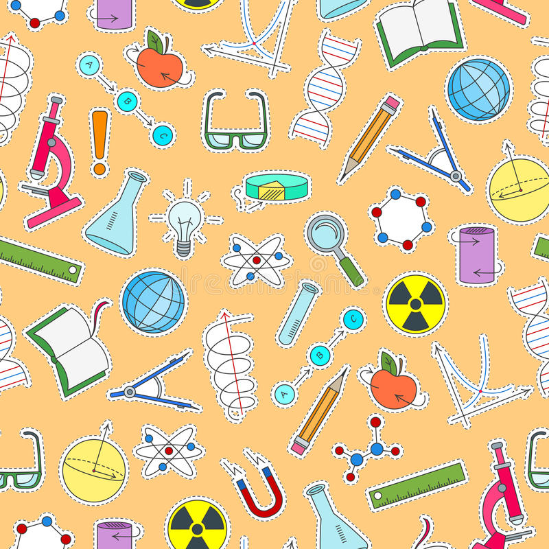 Nahtlose Illustration auf dem Thema der Wissenschaft und der Erfindungen, der Diagramme, der Diagramme und der Ausrüstung, einfac lizenzfreie abbildung