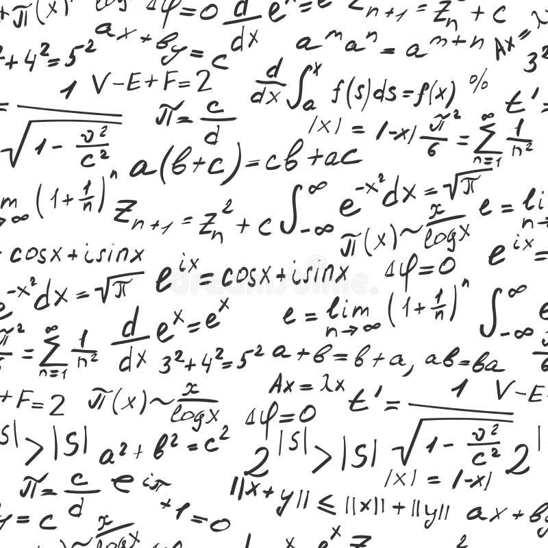 Nahtlose Illustration bezüglich der genauen Wissenschaft mit Formeln und Symbolen, ein dunkler Entwurf auf einem weißen Hintergru vektor abbildung