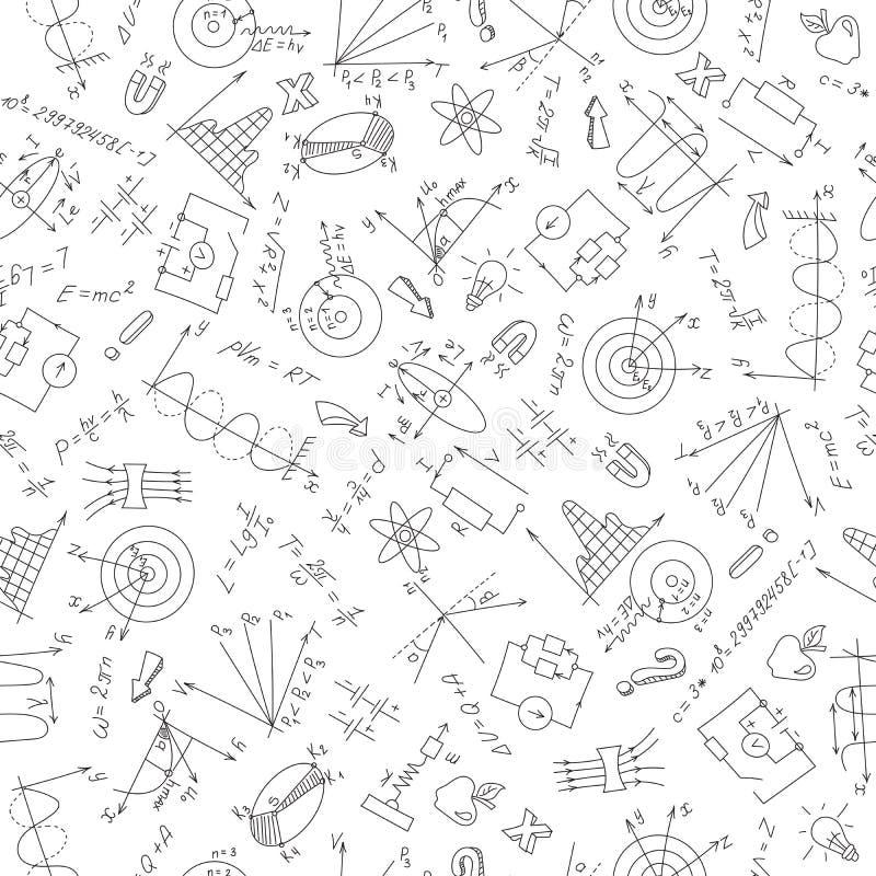 Nahtlose Illustration des Themas von Physik, ein dunkler Entwurf auf einem weißen Hintergrund vektor abbildung