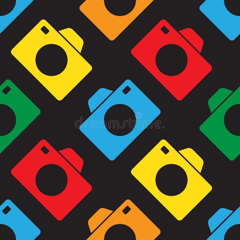 Nahtlose Illustration - Farbkameras lizenzfreie abbildung
