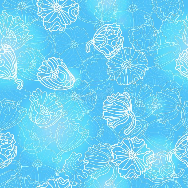 Nahtlose Illustration mit Blumen und Blättern von Mohnblumen, helle Konturnanlagen auf einem blauen Hintergrund vektor abbildung