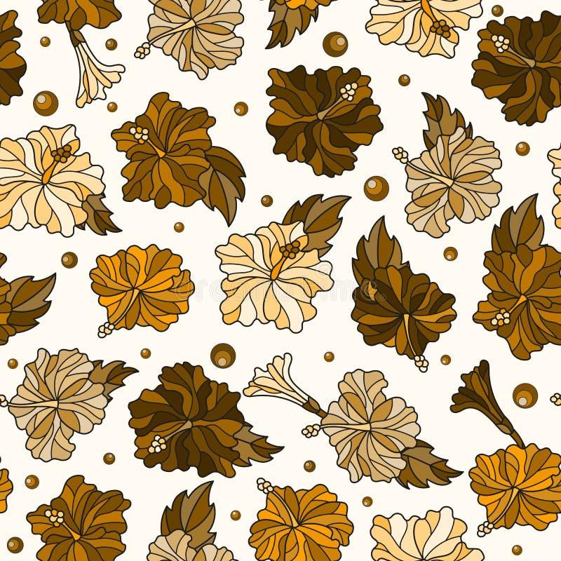 Nahtlose Illustration mit Frühling blüht in der Buntglasart, Blumen, Knospen und Blätter von Hibiscusen, tonen Braun, Sepia auf e vektor abbildung