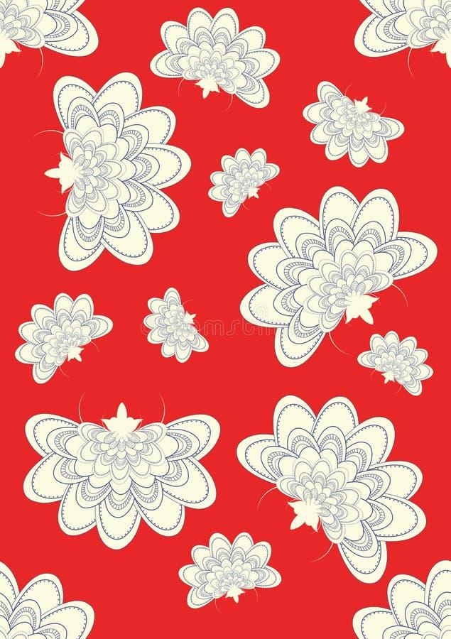 Nahtlose japanische Blumen auf Rot stock abbildung