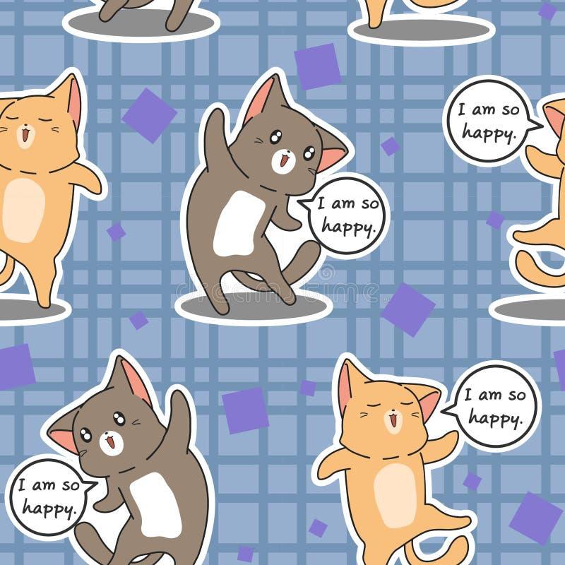 Nahtlose 2 Katzen sind glückliches Muster vektor abbildung