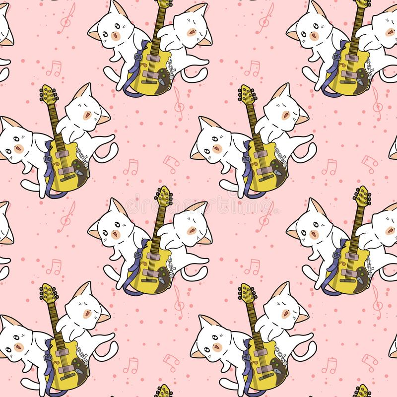 Nahtlose kawaii Katzen und das Gitarrenmuster stockfoto