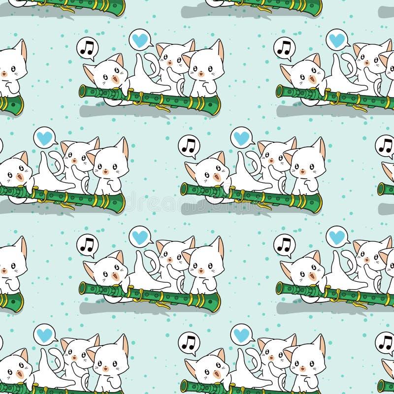 Nahtlose kawaii Katzencharaktere mit einem Flötenmuster stockbilder