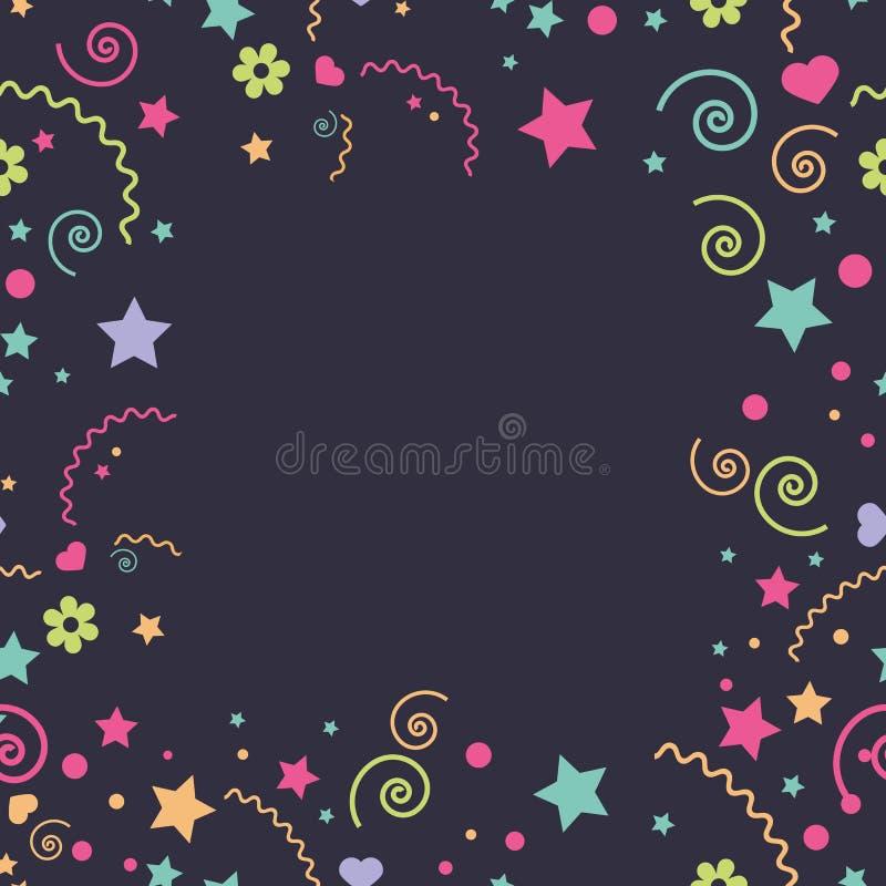 Nahtlose Kind-` s lustige bunte verschiedene Elemente eines Sternes, Blumen, Herzen stock abbildung