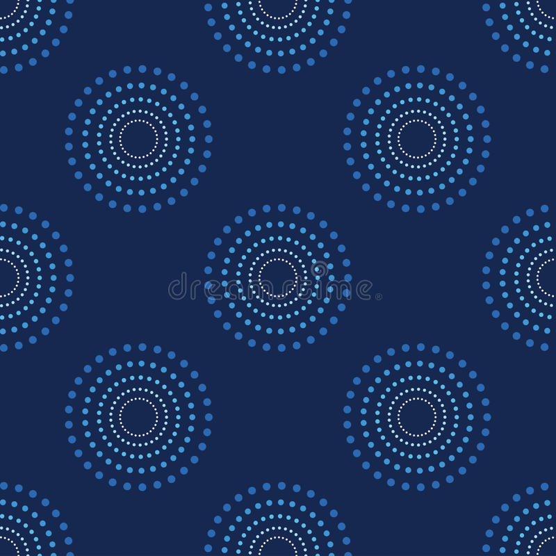 Nahtlose Kreis-Dots Blue Background Abstract Pattern-Dunkelheit 1 vektor abbildung