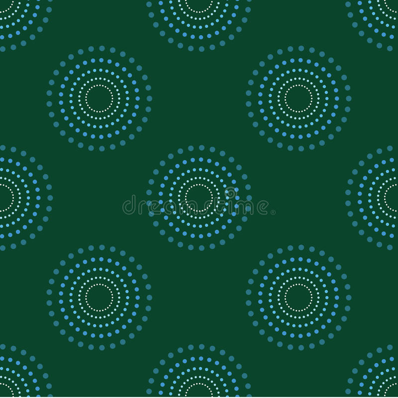Nahtlose Kreis-Dots Green Background Abstract Pattern-Dunkelheit 1 lizenzfreie abbildung