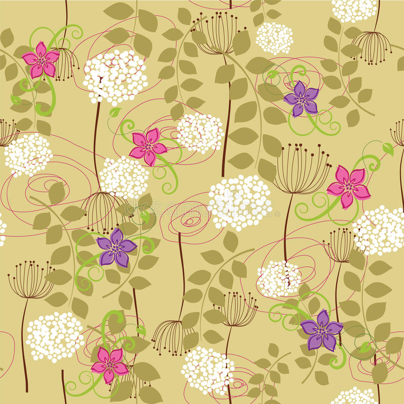 Nahtlose Löwenzahn- und Blumentapete vektor abbildung