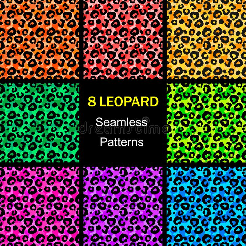 Nahtlose Leopardmustersammlung, bunte endlose Hintergründe Tierdruck Abbildung lizenzfreie abbildung