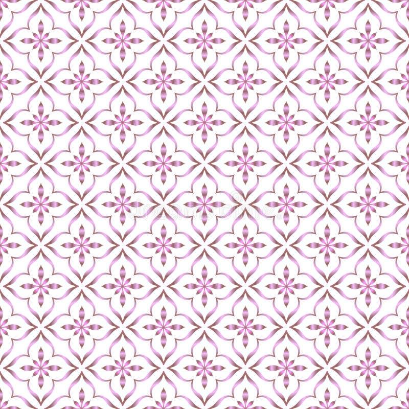 Nahtlose, leuchtend rosa Vintage-Ornament-Muster im weißen Hintergrund lizenzfreie abbildung