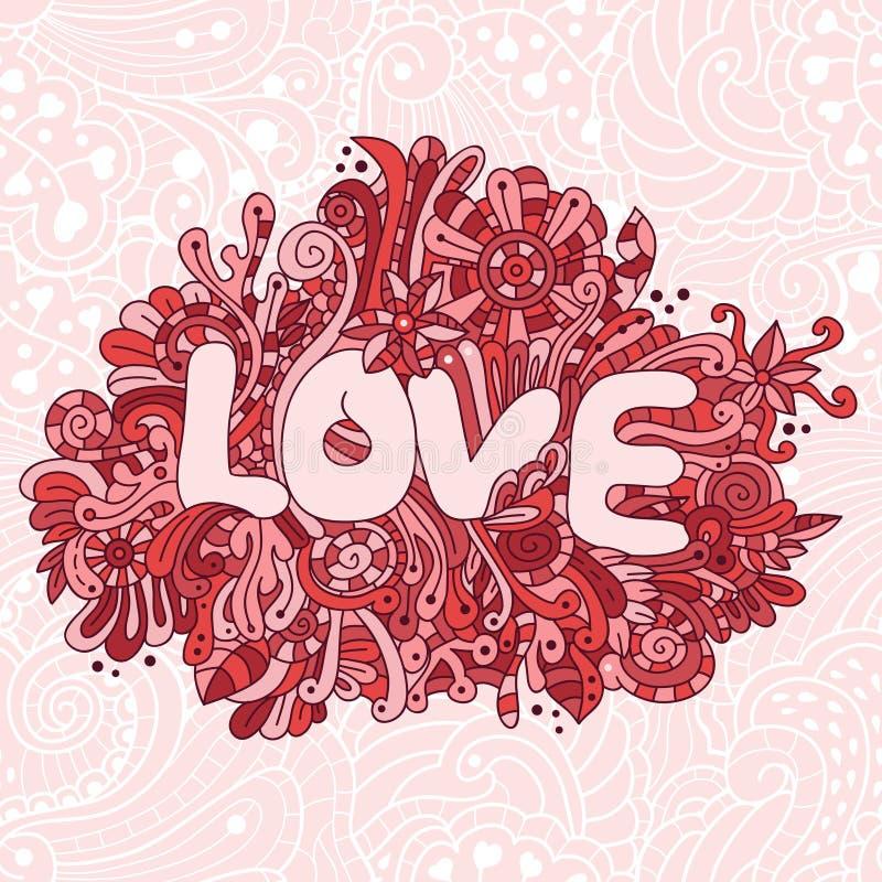 Nahtlose Liebesbeschaffenheit des Vektors mit abstrakten Blumen stock abbildung