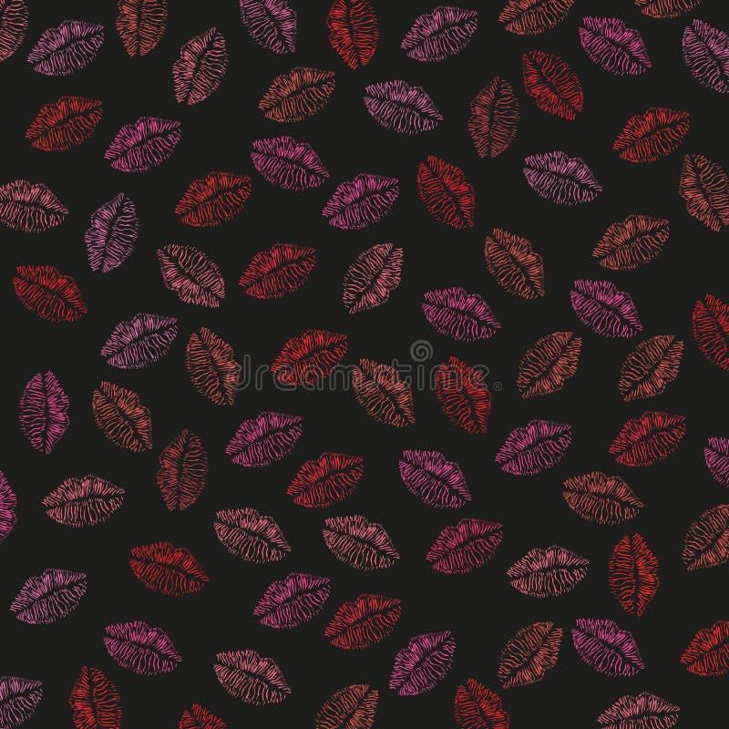 Nahtlose Lippen, Kussdruck-Illustrationsmuster lizenzfreie abbildung