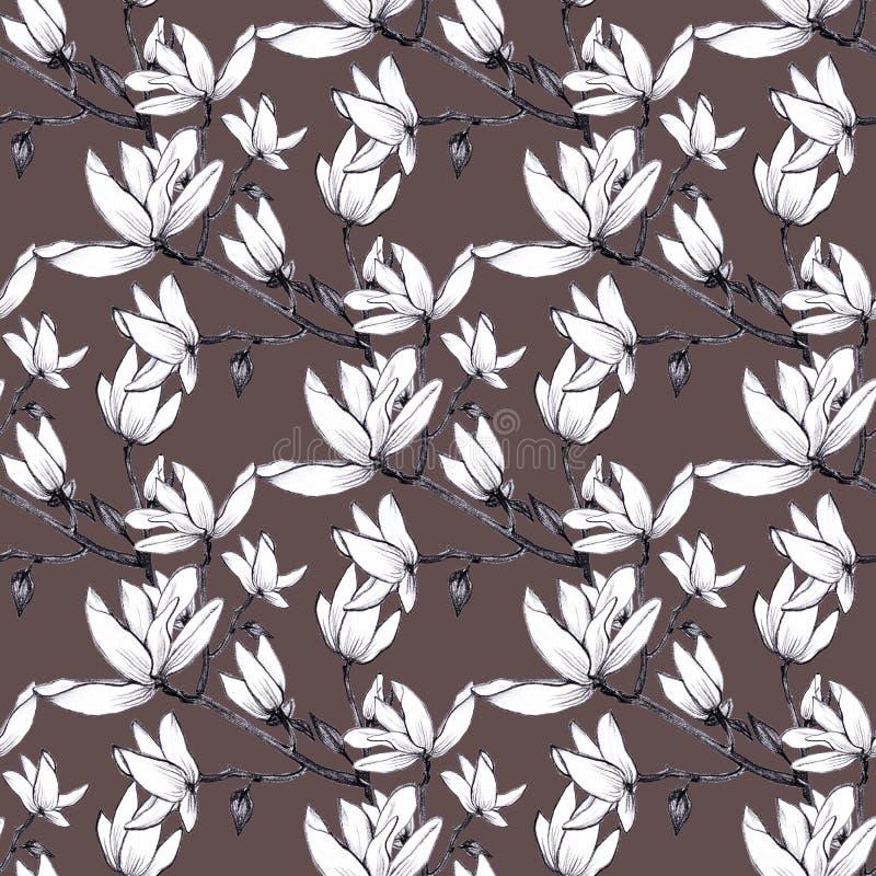 Nahtlose Magnolienblumen des Handgezogenen Musters auf braunem Hintergrund vektor abbildung