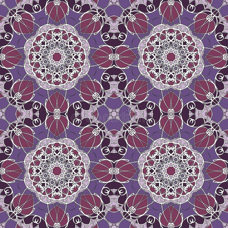 Nahtlose Mandala Muster der Weinlese lizenzfreies stockfoto
