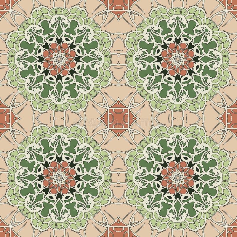 Nahtlose Mandala Muster der Weinlese stockbilder