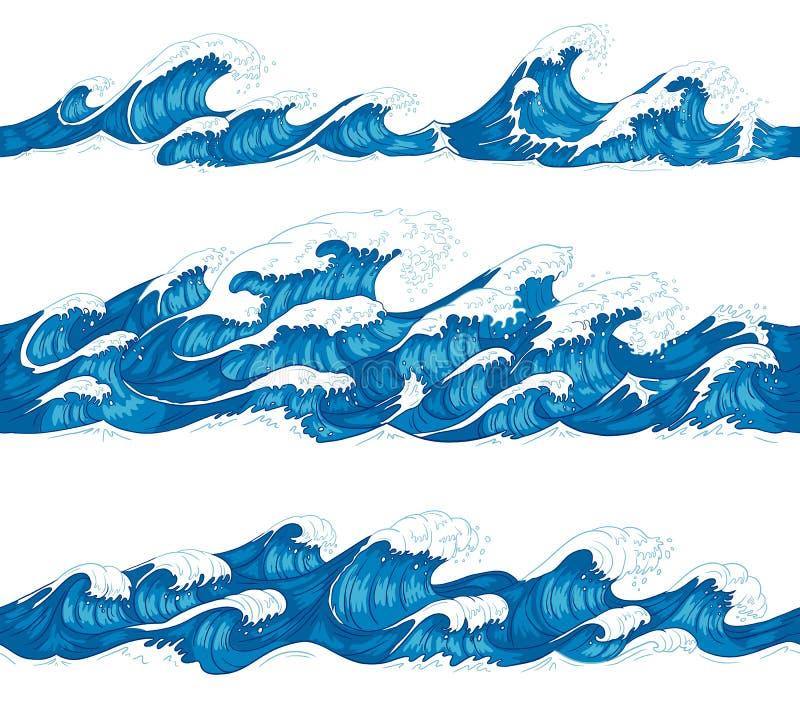 Nahtlose Meereswogen Seebrandung, dekorative surfende Welle und Wassermusterhandgezogener Skizzenvektorillustrationssatz stock abbildung