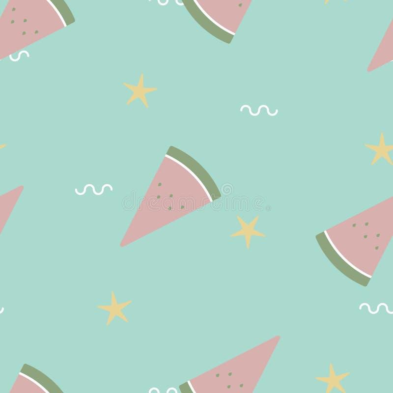 Nahtlose minimale nette, süße, bunte, geschnittene Pastellwassermelone mit Sternwiederholungsmuster im grünen Hintergrund lizenzfreie abbildung