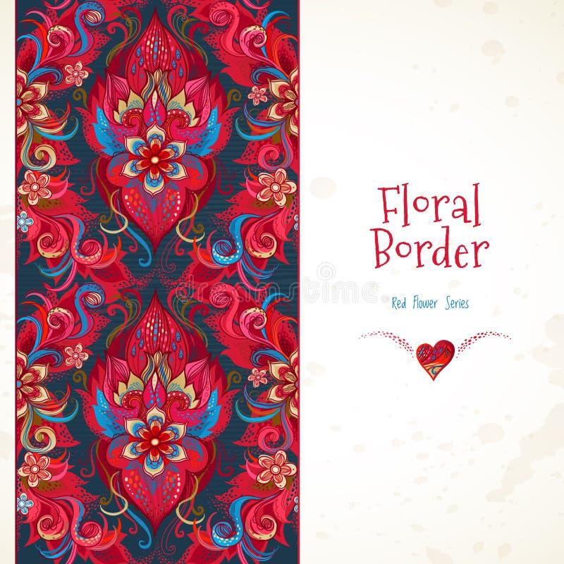 Nahtlose mit Blumengrenze des Vektors in den roten Farben lizenzfreie abbildung