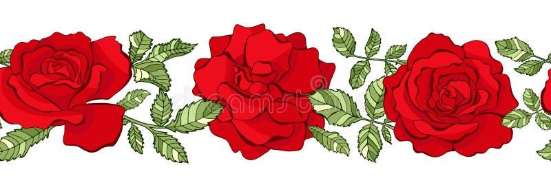 Nahtlose mit Blumengrenze des Vektors Rote Rosen vektor abbildung