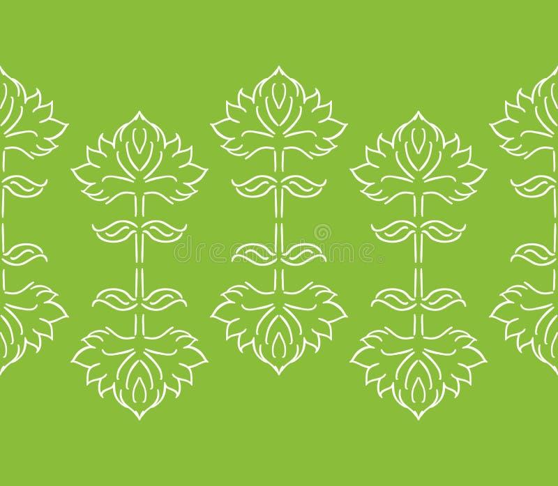 Nahtlose mit Blumengrenze oder Muster der Fantasie mit den ethnische gezeichneten Blattelementen der Art Hand, weiß auf Grün lizenzfreie abbildung