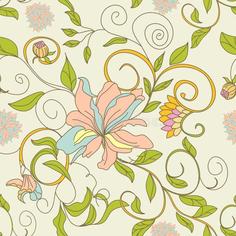 Nahtlose mit Blumentapete lizenzfreie abbildung