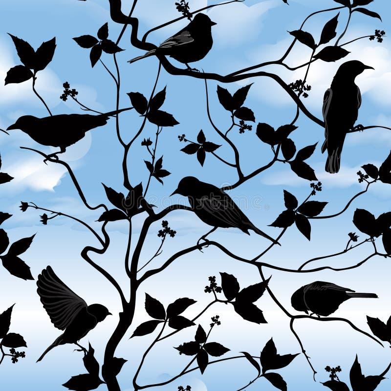 Nahtlose mit Blumentapete des Frühlinges mit Vögeln auf Niederlassungen über blauem Himmel vektor abbildung