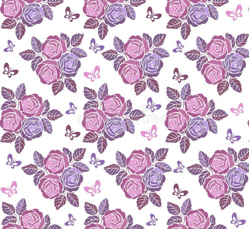 Nahtlose mit Blumenverzierung der Weinlese mit Schmetterlingen in den Pastellfarben Dekorativer Verzierungshintergrund für Gewebe lizenzfreie abbildung