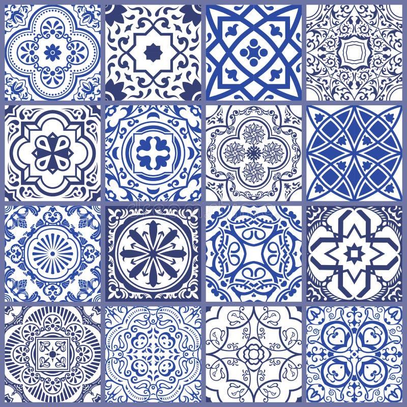 Nahtlose Mosaikmit blumenfliese Keramisches Weinlesemuster des Vektors Mittelmeer, Osmane stock abbildung