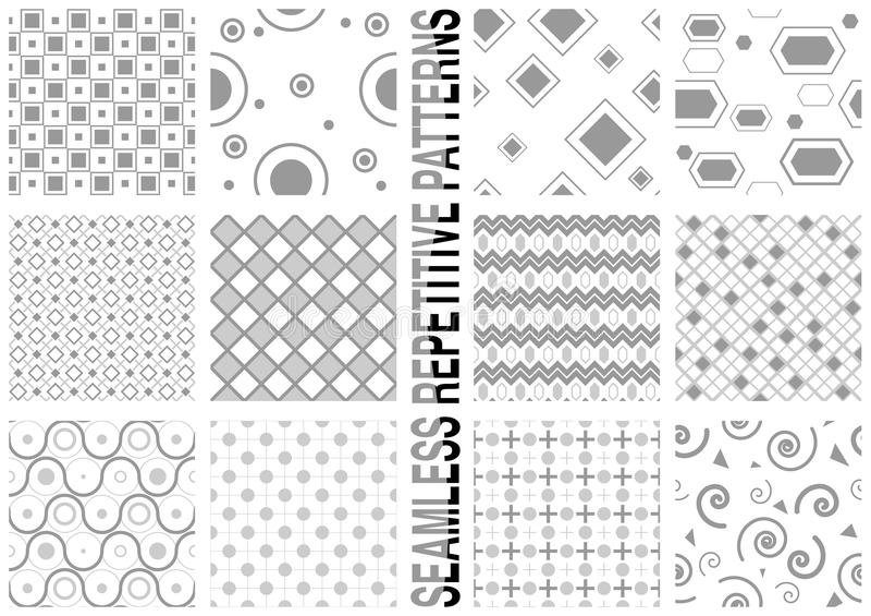 12 nahtlose Muster stock abbildung