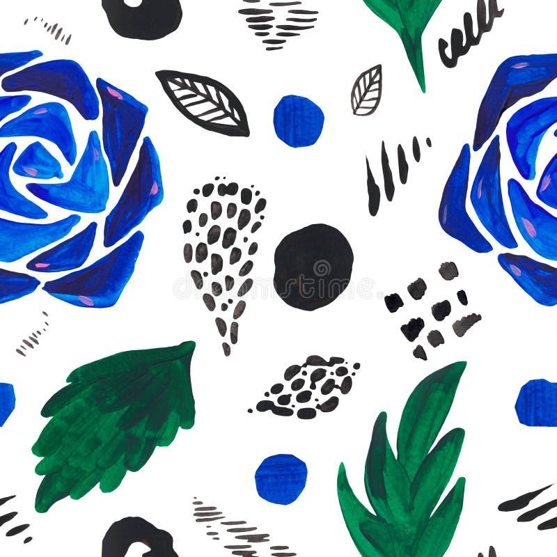 Nahtlose Muster Aquarell-Zusammenfassungsillustration von dekorativen spotsplant Blumen auf weißer lokalisierter moderner Beschaf lizenzfreie abbildung