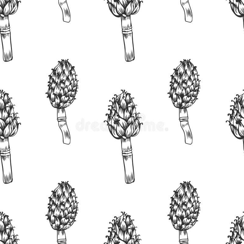 Nahtlose Muster Artischockenhandgezogene Vektor-Tintenskizze lokalisiert auf weißem Hintergrund, grafische Kräuterzierpflanze vektor abbildung