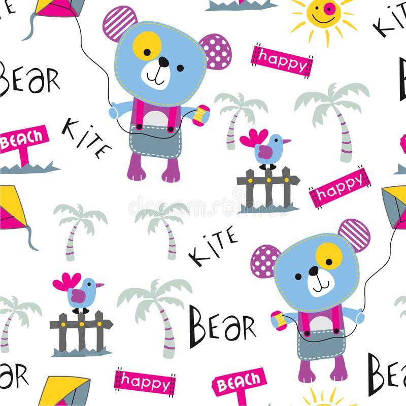 Nahtlose Muster-, Bärn- und Drachenlustige Tierkarikatur, Vektorillustration lizenzfreie abbildung