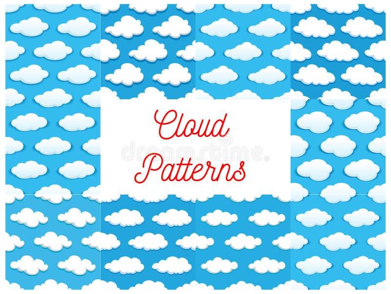 Nahtlose Muster der Karikaturkumuluswolken stock abbildung
