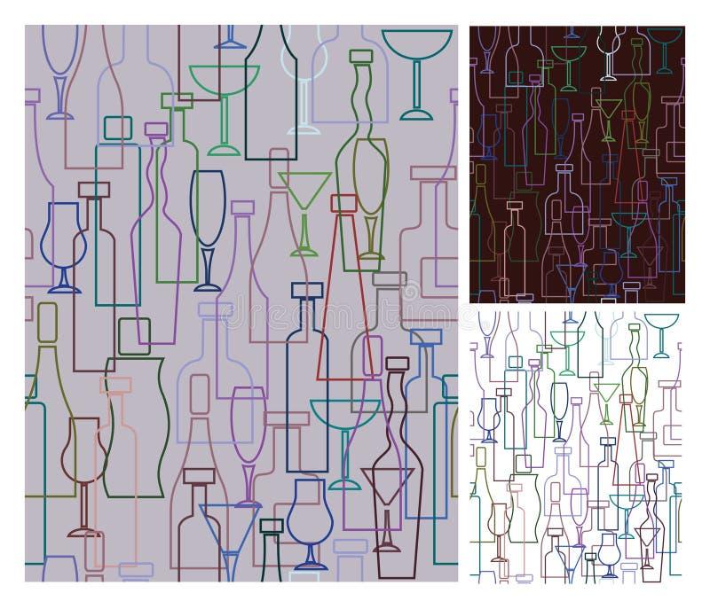 Nahtlose Muster der Weinflaschen, Becher, Rebe vektor abbildung