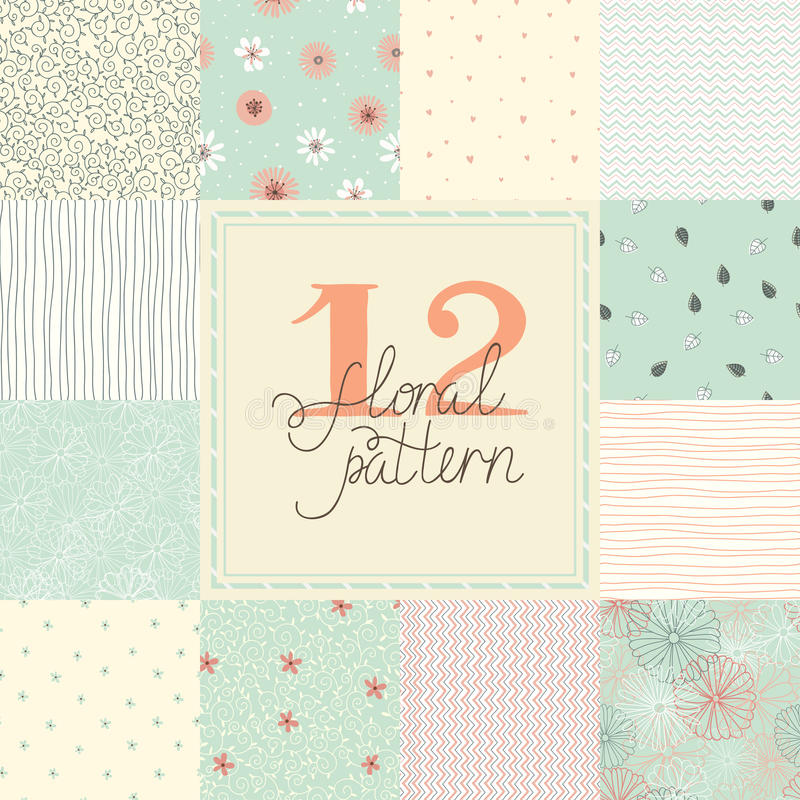 12 nahtlose Muster des eleganten romantischen Vektors (Tiling) stock abbildung