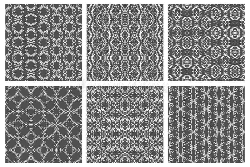 Nahtlose Muster des Flourishdamastes Vektorblumengewebe lizenzfreie abbildung
