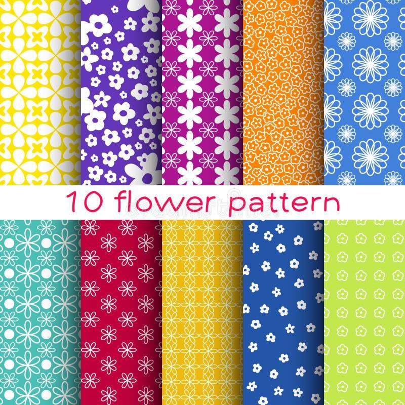 10 nahtlose Muster des romantischen unterschiedlichen Blumenvektors stock abbildung