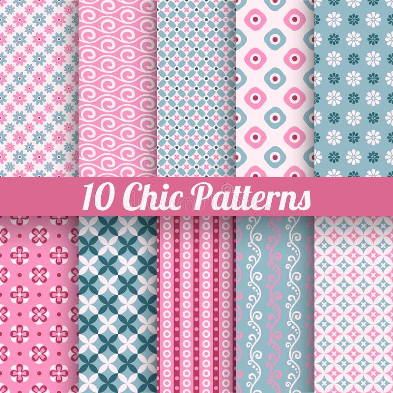 Nahtlose Muster des unterschiedlichen Vektors des Chic (Tiling) stock abbildung