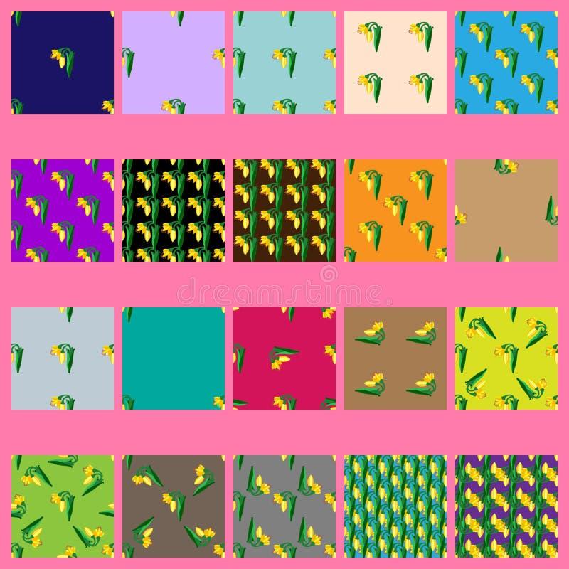 Nahtlose Muster des Vektors mit gelben Blumen lizenzfreie abbildung