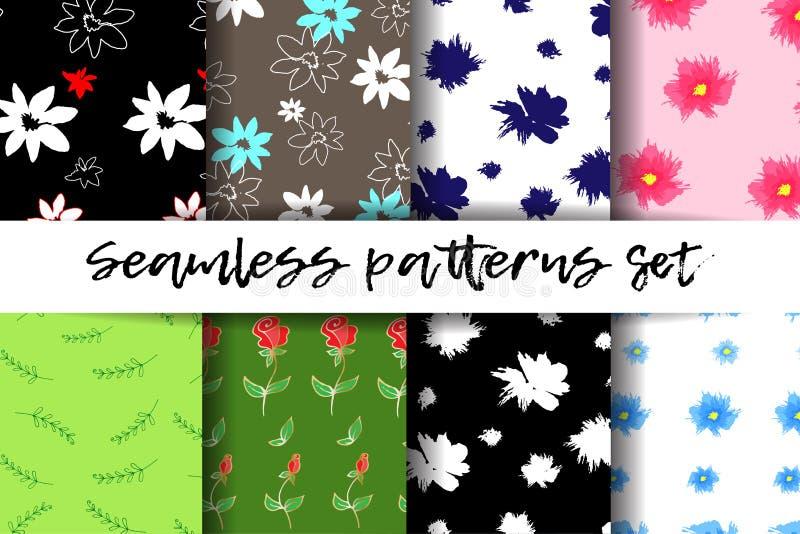 Nahtlose Muster eingestellt Modische geometrische Elemente Moderne abstrakte Auslegung Gut für Textilgewebe stock abbildung