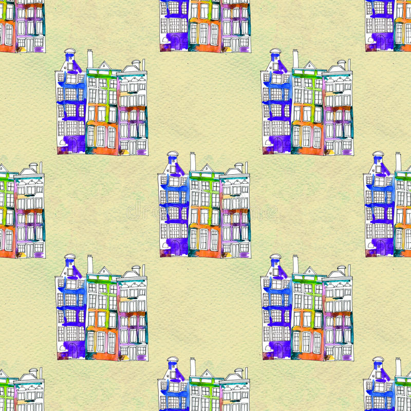 Nahtlose Muster eith Aquarell Amsterdam-Häuser vektor abbildung